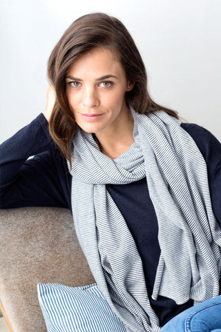 Valencia Cotton/Cashmere Wrap/Scarf - Chalk and Navy Micro Stripe