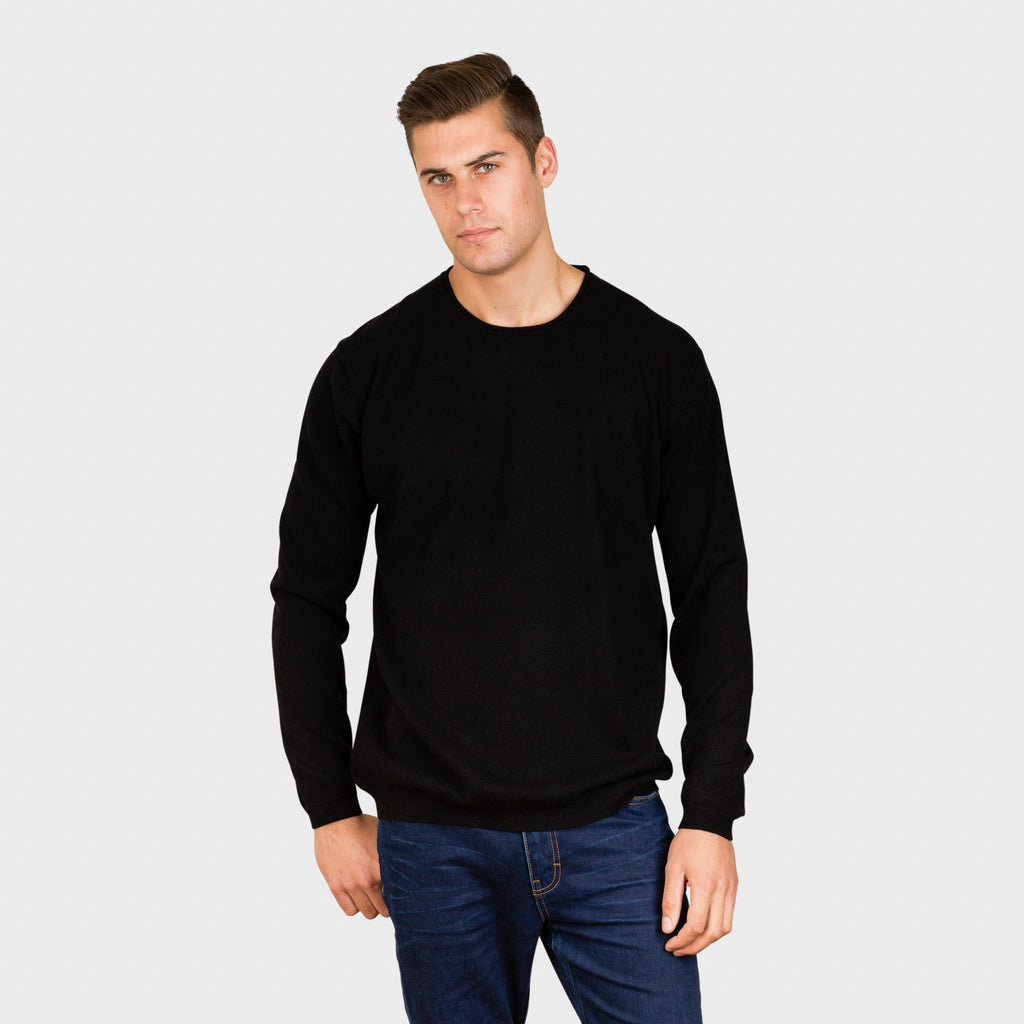 TEDDY ROLLED EDGE CREW NECK - PURE CASHMERE