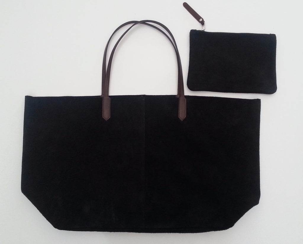 BIRDIE HAND MADE SUEDE CITY TOTE BAG - BLACK or MOOSE