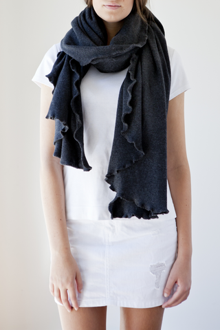 RHODES FRILL EDGE WRAP - Charcoal Grey
