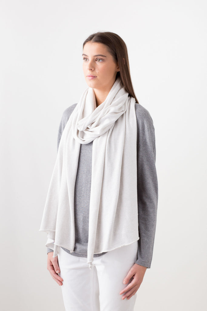 Valencia Cotton/Cashmere Wrap/Scarf - Chalk with Grey Micro Stripe