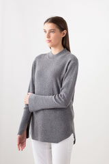 Fine Fishermans Rib Round Neck with Split Sleeve Detail - Grey