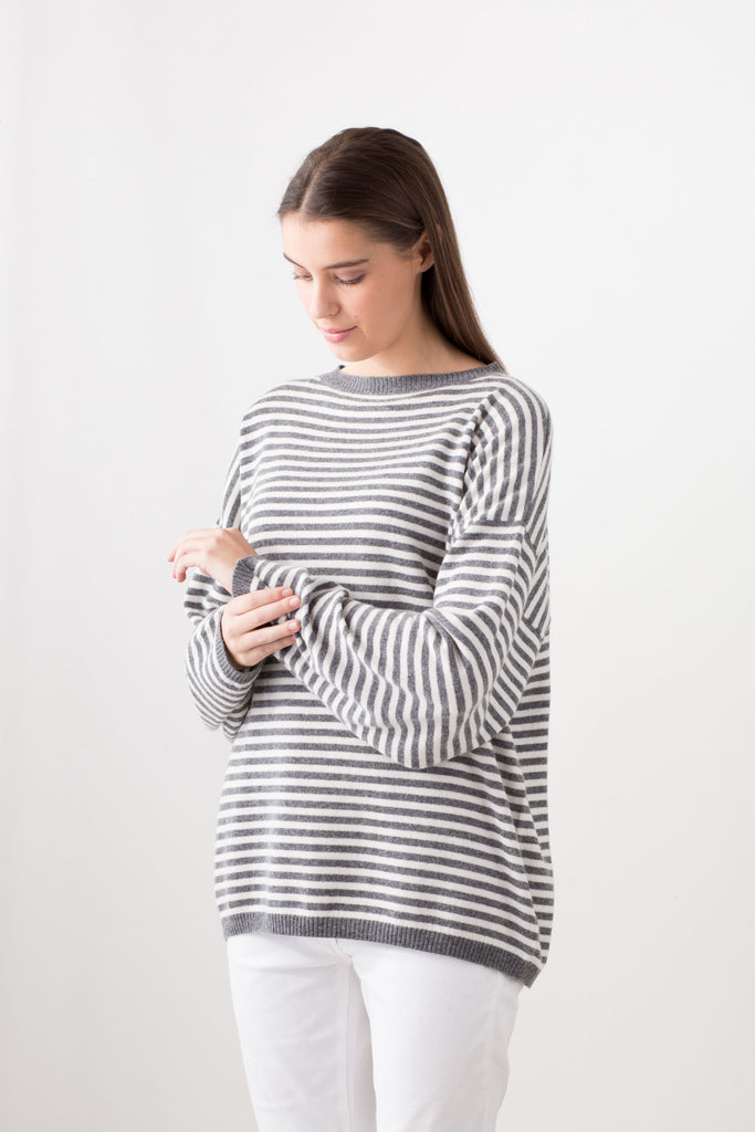 Weekender Casual Fit Round Neck Jumper - Linen and Grey Stripe