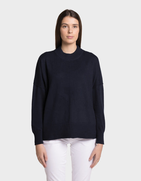 SASHA COTTON CASHMERE ROUND NECK -  Neat Navy