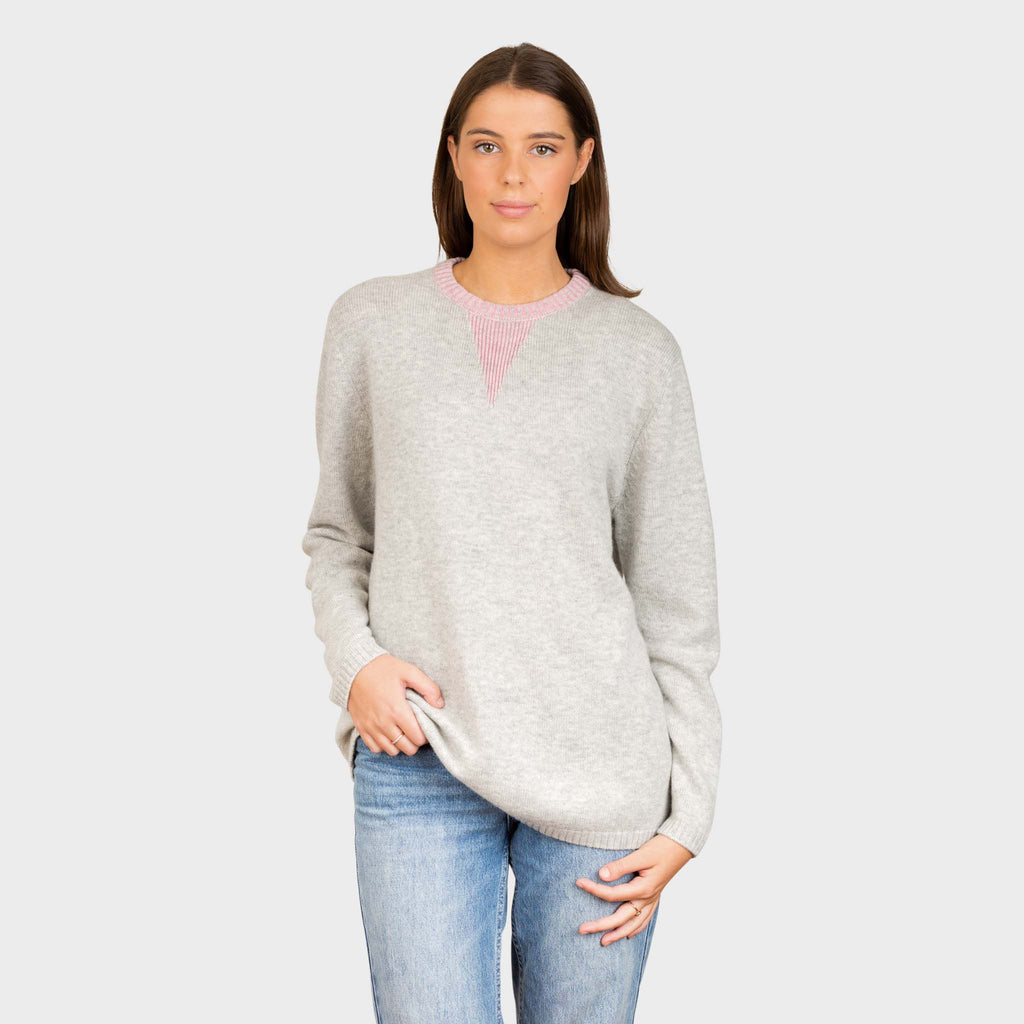 SATURDAY LUXURY 7 GUAGE KNIT ROUND NECK WITH V RIB CONTRAST