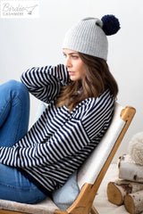 Weekender Casual Fit Round Neck Jumper - Linen and Navy Stripe