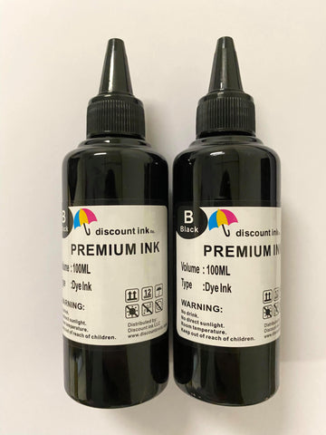2x100ml Black Universal Premium Refill Ink for Epson Canon HP Brother Lexmark Dell Printers