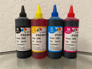 4x250ml Universal Premium Refill Ink for Epson Canon HP Brother Lexmark Dell Printers