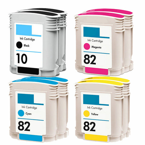 8PK Compatible For HP 10/82 ink cartridges C4844 C4911 C4912 C4913 Designjet 800
