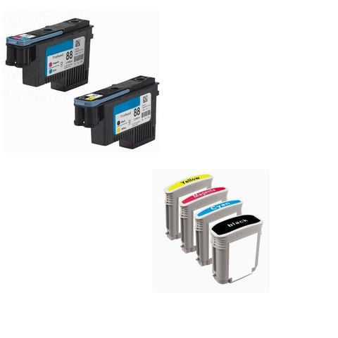 Bundle set HP 88 Printhead Print head plus 4 packs 88xl ink cartridges