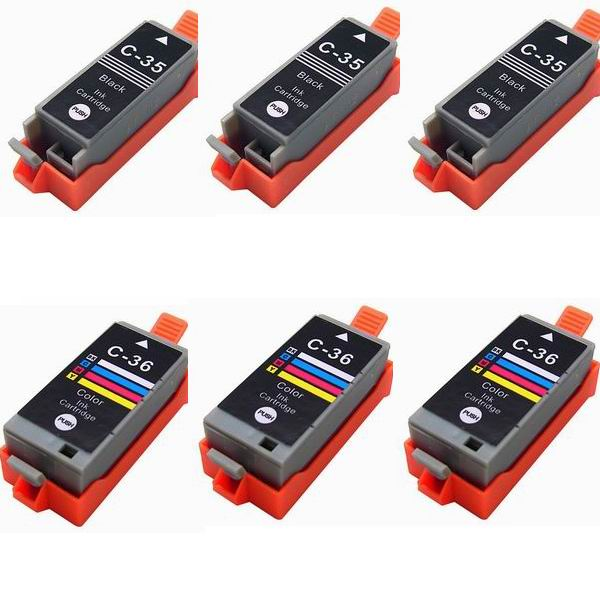 6 Pack Compatible Ink for Canon PGI-35 CLI-36 PIXMA ip100 mini260 mini320