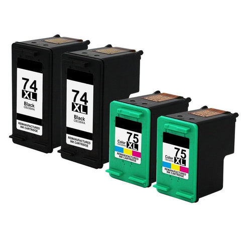 4 Pack Compatible HP 74XL 75XL Photosmart C4345 C4435 C4480 C4240 C4280 Printer