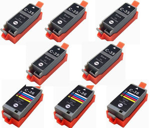 8 Pack Compatible Ink for Canon PGI-35 CLI-36 PIXMA ip100 mini260 mini320