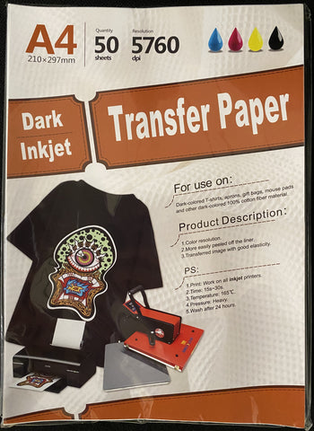 "Inkjet heat transfer paper for Dark color fabric 11.7"" X 8.25"" A4 - 50 sheets"