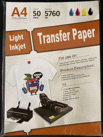 "Inkjet heat transfer paper for Light color fabric 11.7"" X 8.25"" A4 - 50 sheets"