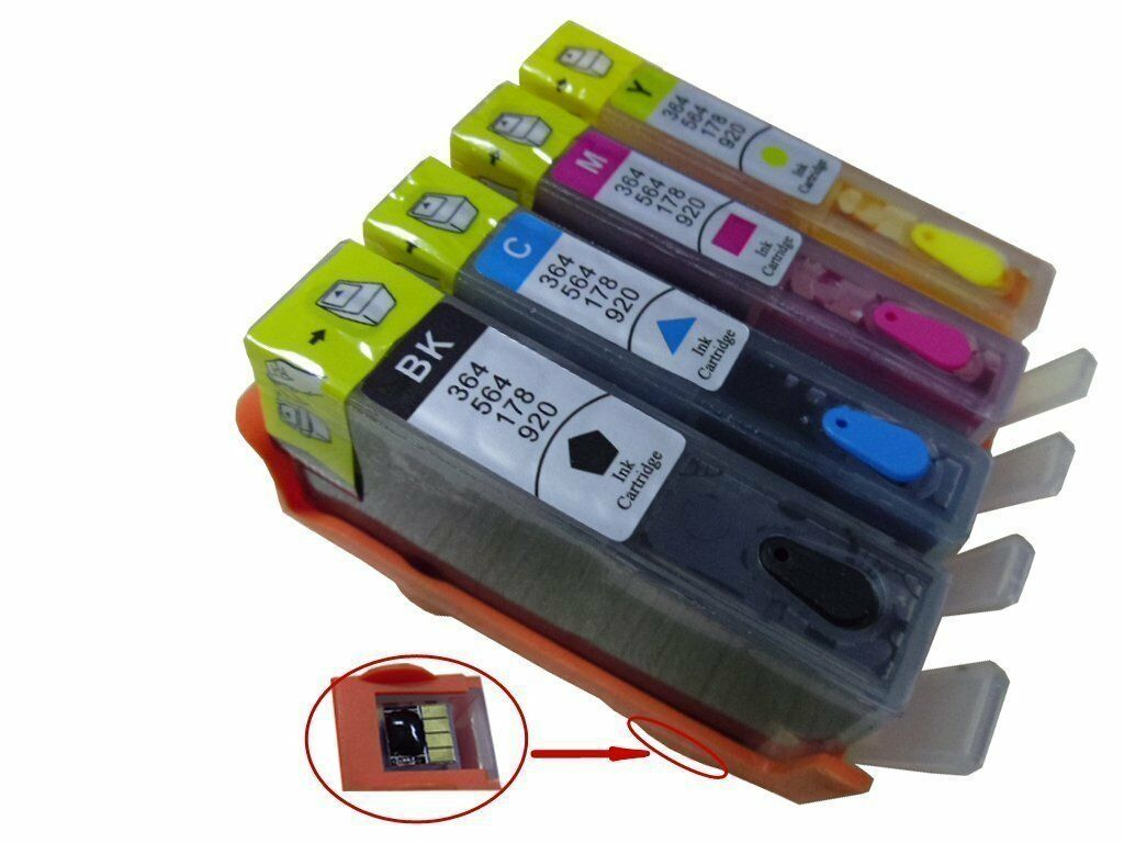 4 Refillable Ink Cartridge for HP 564/564XL PhotoSmart 6515 6512 6510 6520