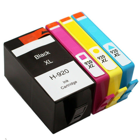 4 Pack Compatible For ink cartridges for HP 920 XL Black Cyan Magenta Yellow Ink