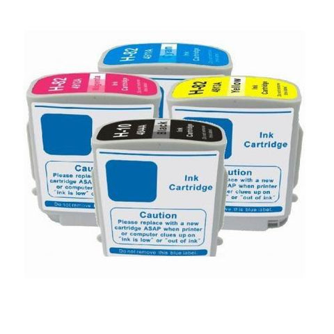 4 PACK Compatible ink cartridges HP 82 C4911A C4912A C4913A Color Ink C4844A