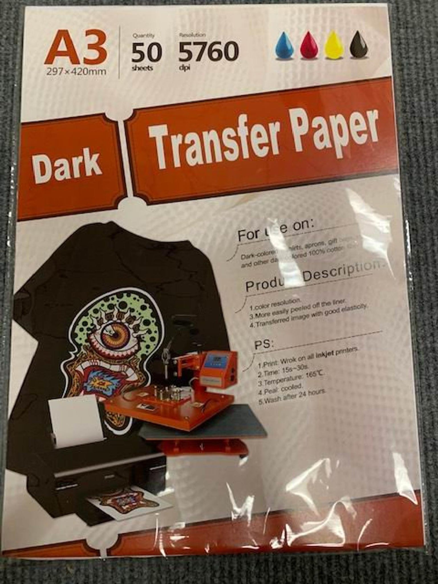 "Inkjet heat transfer iron on paper Dark color fabric 12"" X 17"" A3 - 50 sheets"