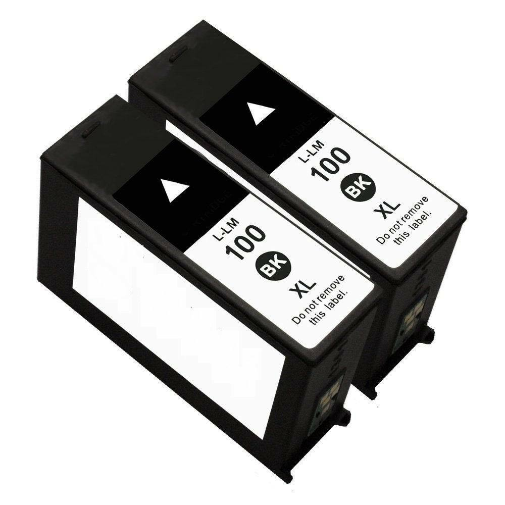 2 PK Compatible for Lexmark 100XL Black Ink Cartridges Interpret S405