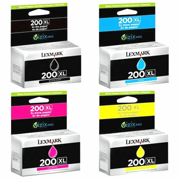 Lexmark Genuine 200XL B C M Y Ink Cartridges Pro 4000 5000 5500