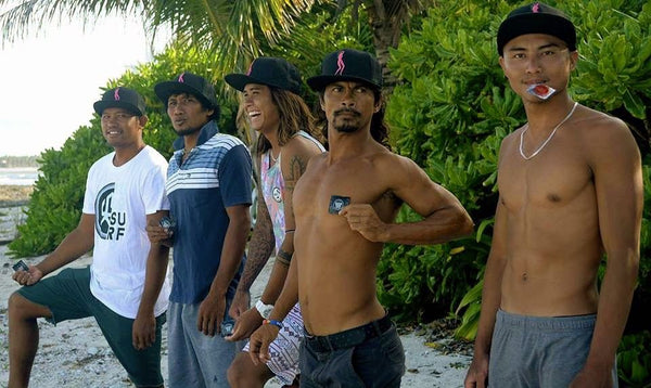 Local surfers Carlito, Dodo, PJ, Wilmar and Philmar rockin' their Days Of Filth ‪caps‬ in Siargao.