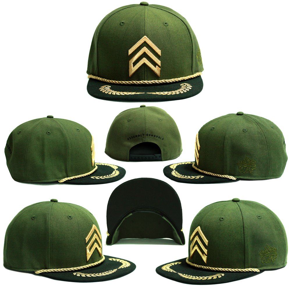 b7fc502d338fc0 old and clean in military green, our collaboration with Assembly Generals  takes its cues from the classic 'El Capitan' caps. This snapback is a  perfect fit ...