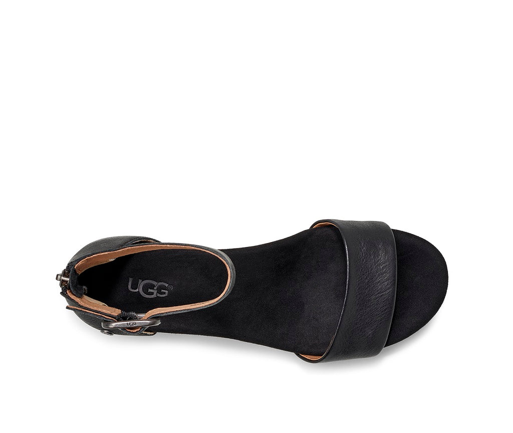 UGG Sandals - Zoe II Wedge - Black - Macaroon Collection