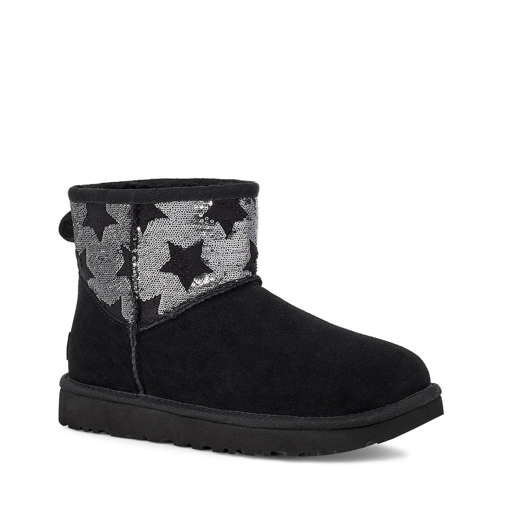 UGG Boot - Classic Mini Sequin Stars - Black - Macaroon Collection