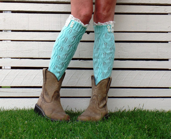 Leg Warmers Lace Detail - Various Colours - Macaroon Collection