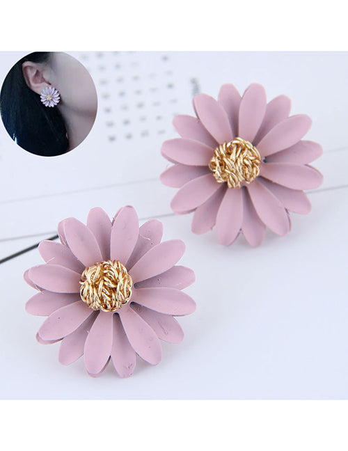 MC. Flower Stud Earrings - Pink - Macaroon Collection