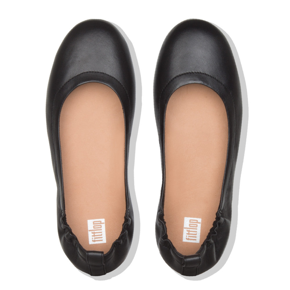Fitflop Allegro Leather Ballerina - Black - Macaroon Collection