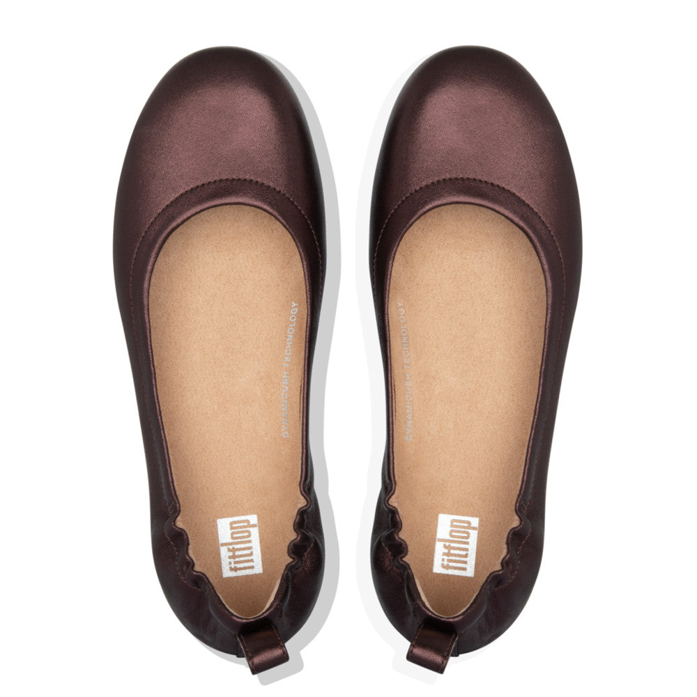 Fitflop Allegro Leather Ballerina - Chocolate Metallic - Macaroon Collection
