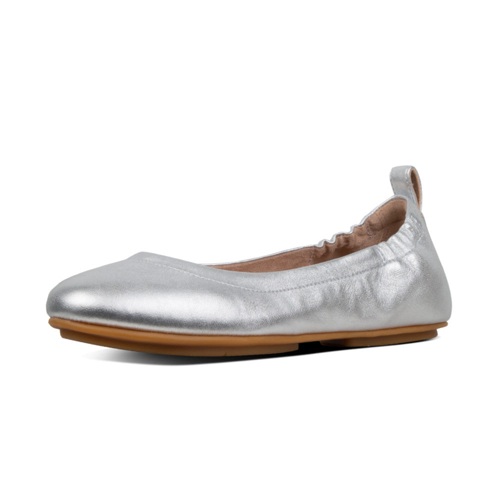 Fitflop Allegro Leather Ballerina - Silver - Macaroon Collection