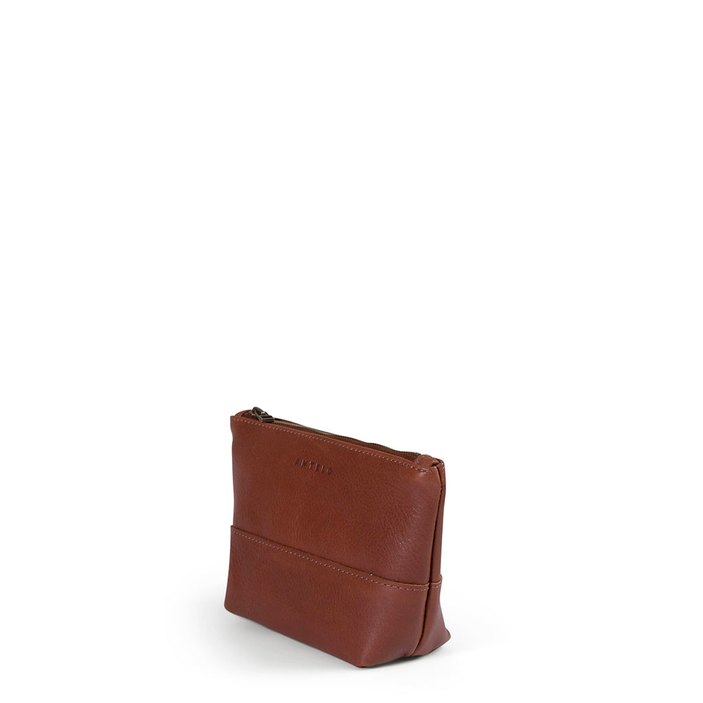 Antelo Alex Leather Unisex Pouch - Tan - Macaroon Collection