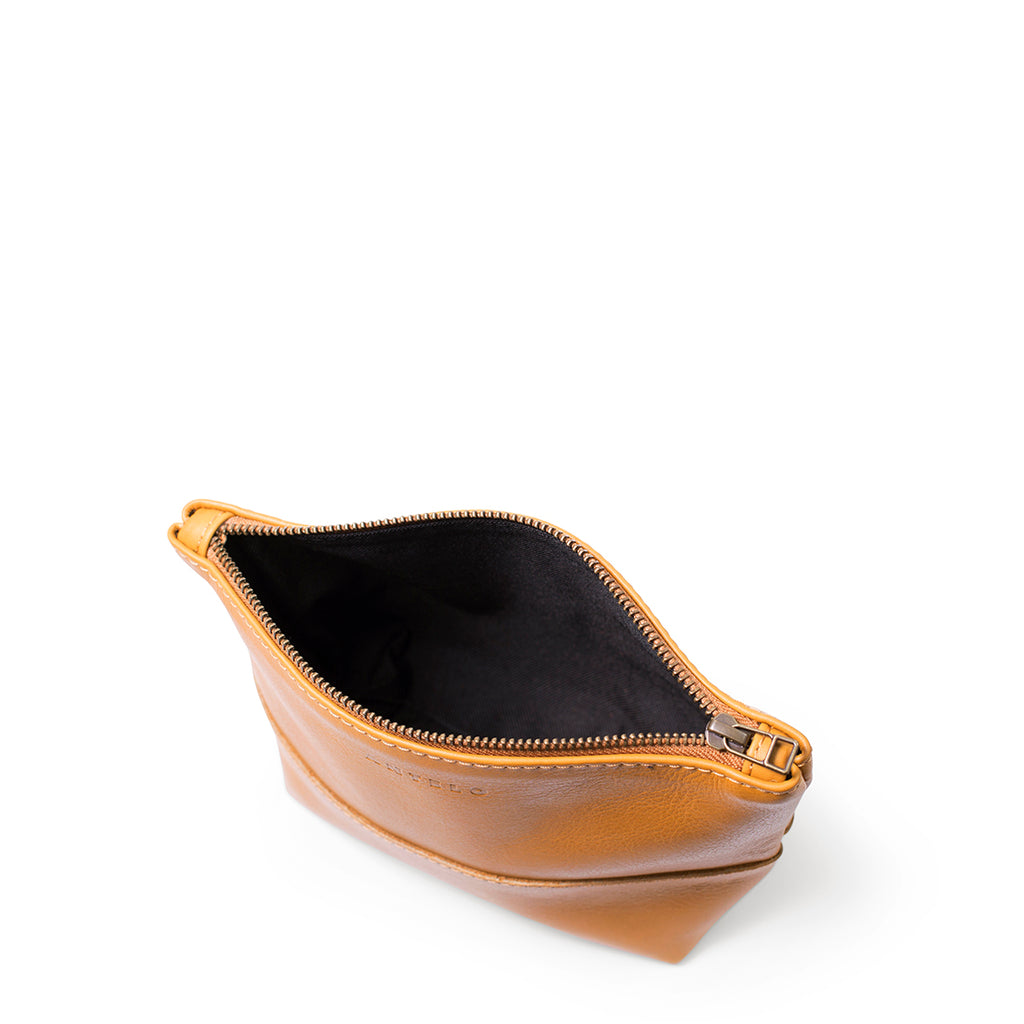 Antelo Alex Leather Unisex Pouch - Mustard - Macaroon Collection