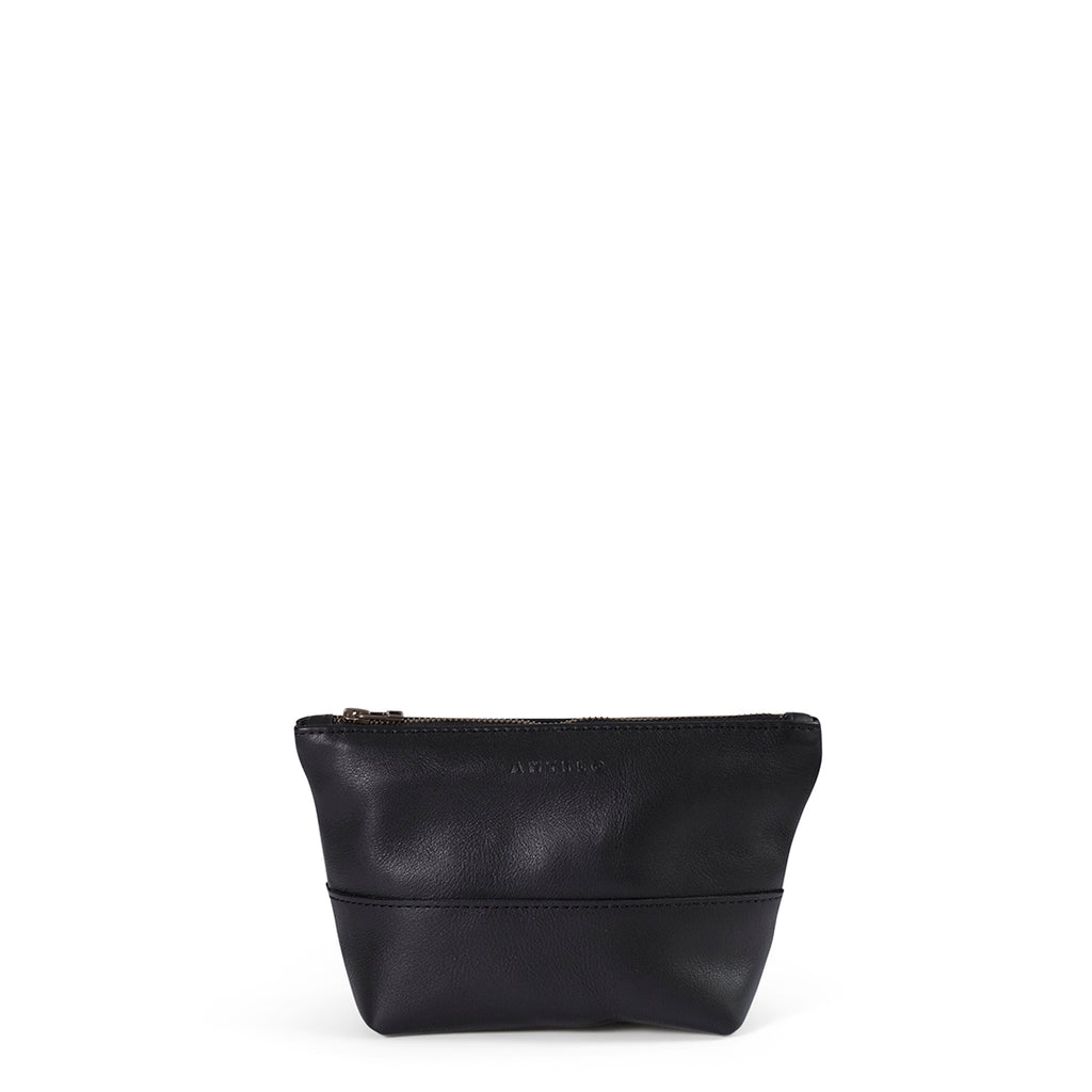 Antelo Alex Leather Unisex Pouch - Black - Macaroon Collection