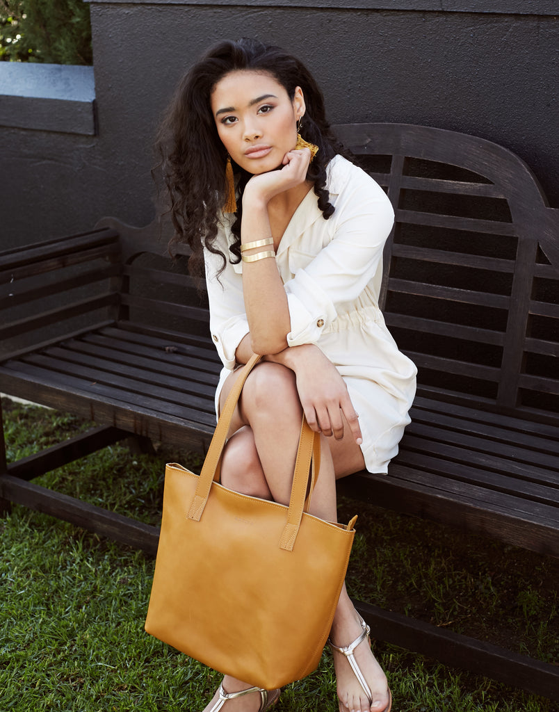 Antelo Emmy Leather Handbag - Tan - Macaroon Collection