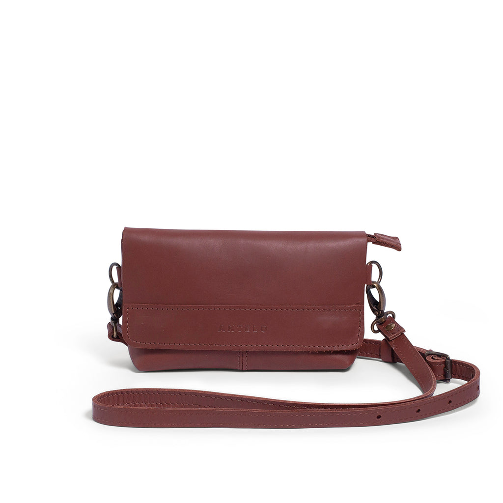 Antelo Alfi Leather Crossbody Sling Pouch - Tan - Macaroon Collection
