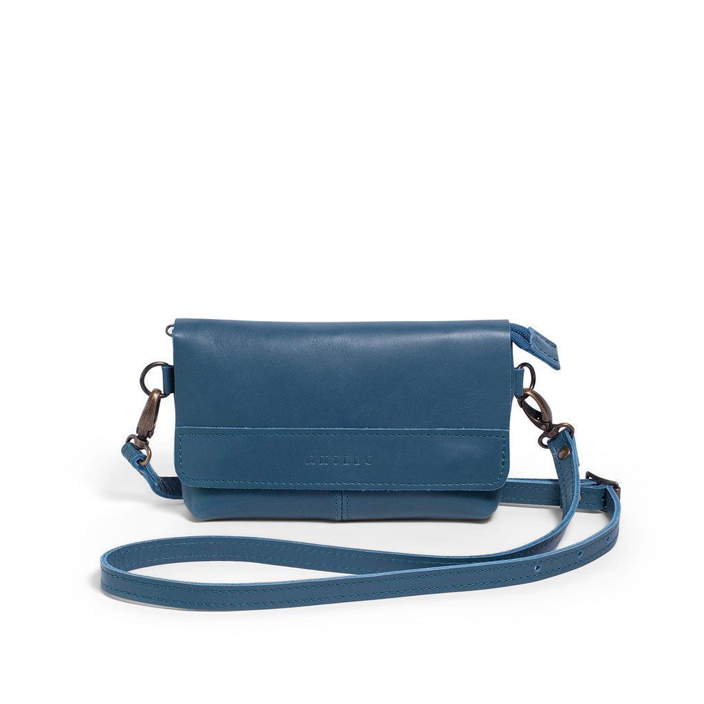 Antelo Alfi Leather Crossbody Sling Pouch - Hydro - Macaroon Collection