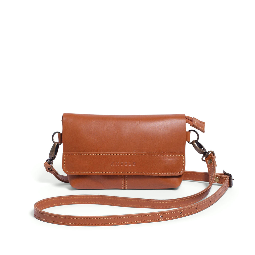 Antelo Alfi Leather Crossbody Sling Pouch - Cider - Macaroon Collection