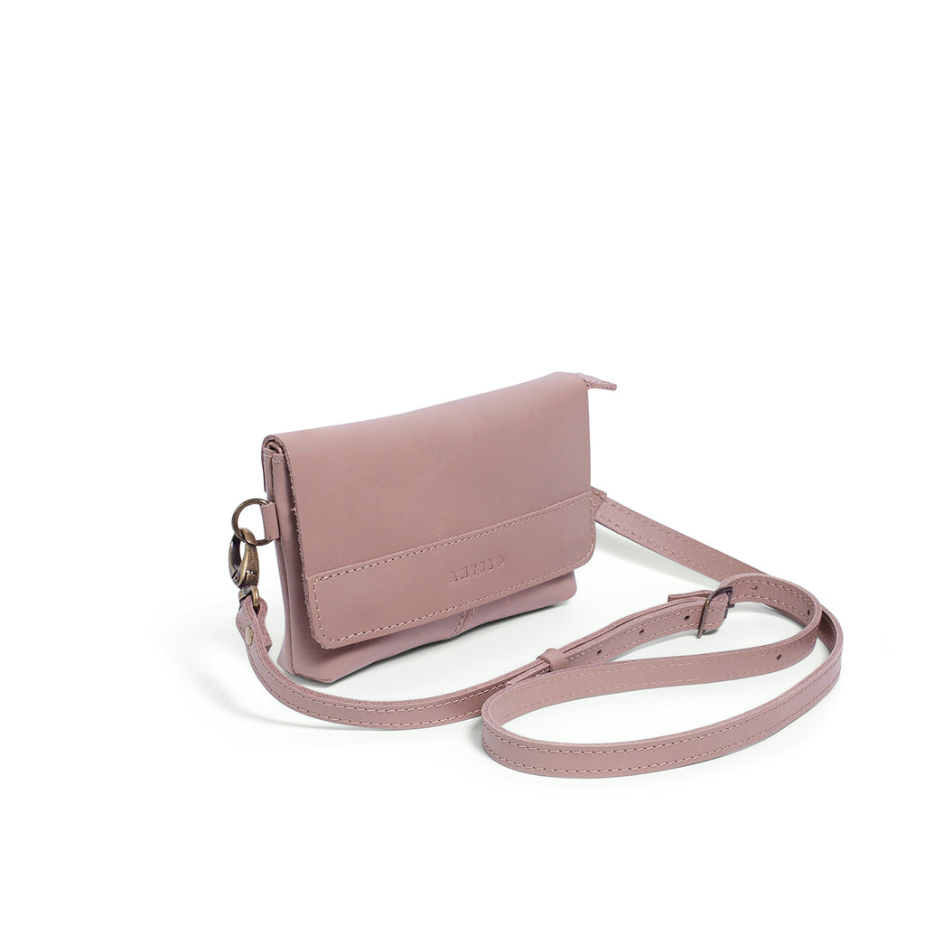 Antelo Alfi Leather Crossbody Sling Pouch - Sand - Macaroon Collection