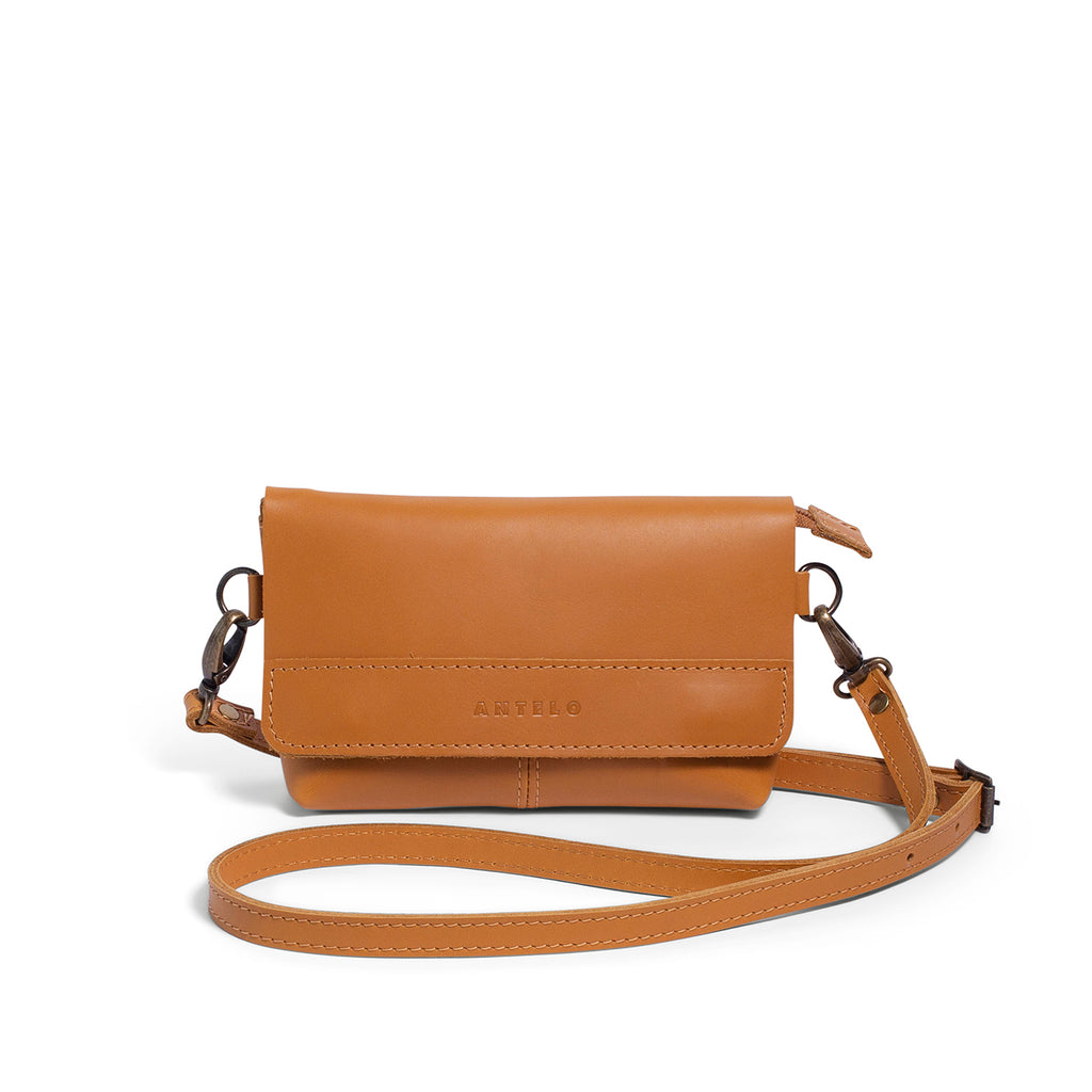 Antelo Alfi Leather Crossbody Sling Pouch - Mustard - Macaroon Collection