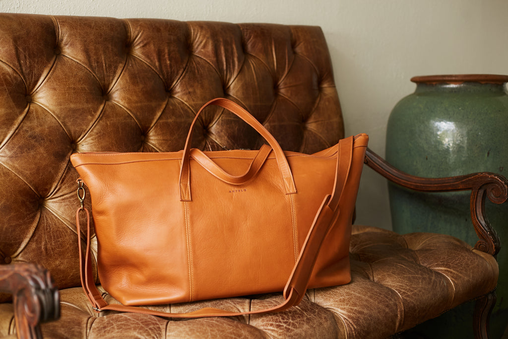 Antelo Oliver Leather Duffel Bag - Tan - Macaroon Collection