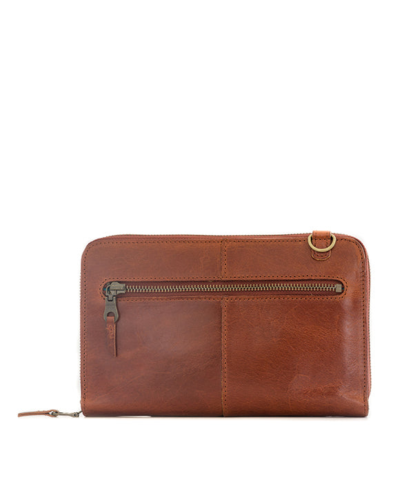 Zemp Ayo Cross-Body Leather Sling Wallet / Clutch - Chestnut / Antique Brass ** Pre-Order - Macaroon Collection