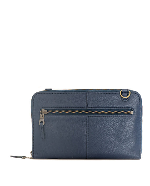 Zemp Ayo Cross-Body Sling Wallet / Clutch - Navy Blue / Antqiue Brass - Macaroon Collection