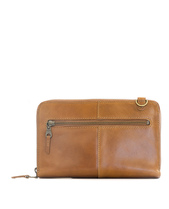 Zemp Ayo Cross-Body Leather Sling Wallet / Clutch - Waxy Tan / Antique Brass - Macaroon Collection
