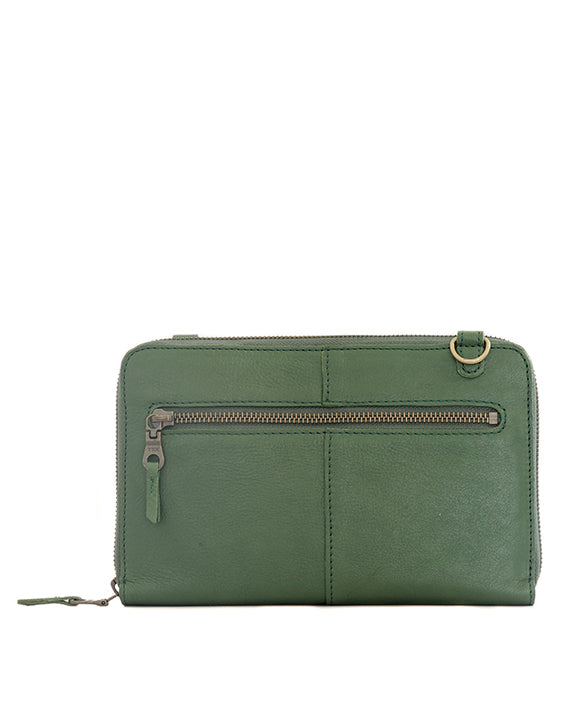 Zemp Ayo Cross-Body Leather Sling Wallet / Clutch - Forest Green / Antique Brass - Macaroon Collection