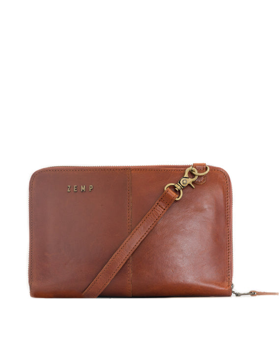 Zemp Ayo Cross-Body Leather Sling Wallet / Clutch - Chestnut / Antique Brass - Macaroon Collection