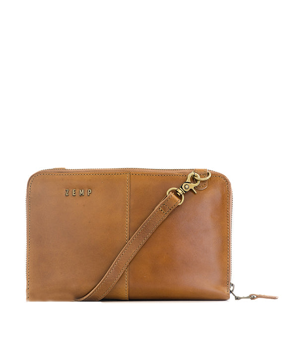 Zemp Ayo Cross-Body Leather Sling Wallet / Clutch - Waxy Tan / Antique Brass ** Pre-Order - Macaroon Collection